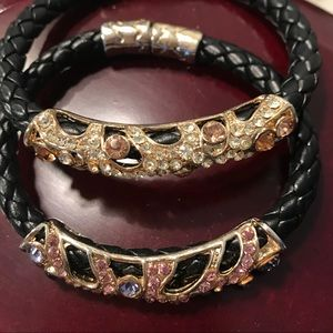 Jewelry - Woven black bracket with crystal accents